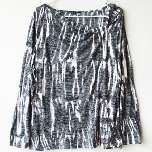 Chaus Long Sleeve Knotted Neck Tie Dye Tunic Shirt